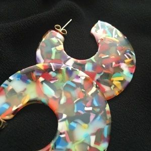 NWOT Colorful Acrylic Disc Earrings
